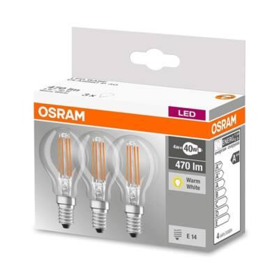 OSRAM Base E14 filament, gömb izzó - 4W (40w), 470 lm, 2700K (meleg fehér), átlátszó, 3Pack